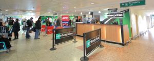 hyrbil london gatwick panorama 300x120 - London England - May 31, 2019: Unidentified People Hire Cars At Gatwick Airport London England.